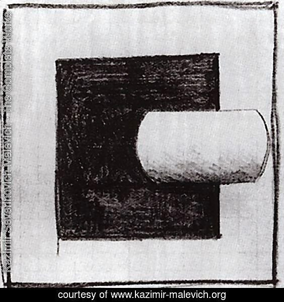 Black square and a white tube-shaped