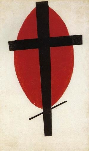 Black cross on a red oval