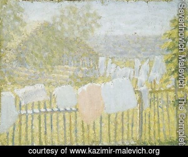 Kazimir Severinovich Malevich - Underwear on the fence