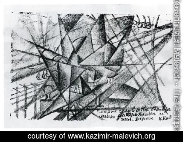 Kazimir Severinovich Malevich - Death of the Man on the Airplane and on the Train at the Same Time. Illustration for