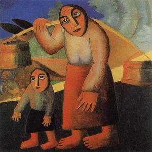 Kazimir Severinovich Malevich - A Peasant Woman With Buckets And A Child