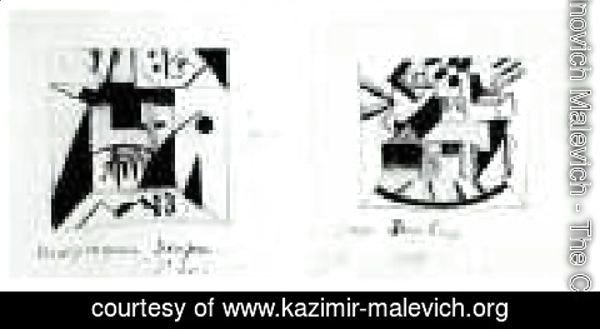 Kazimir Severinovich Malevich - Decor Sketches  For The Opera Victory  Over The Sun