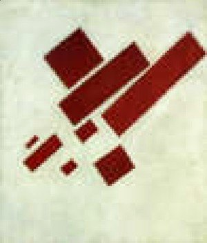 Suprematism With Eight Red Rectangles